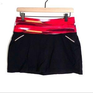 Athleta black and red run skirt